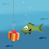 A fish lured by a dangerous gift box.
