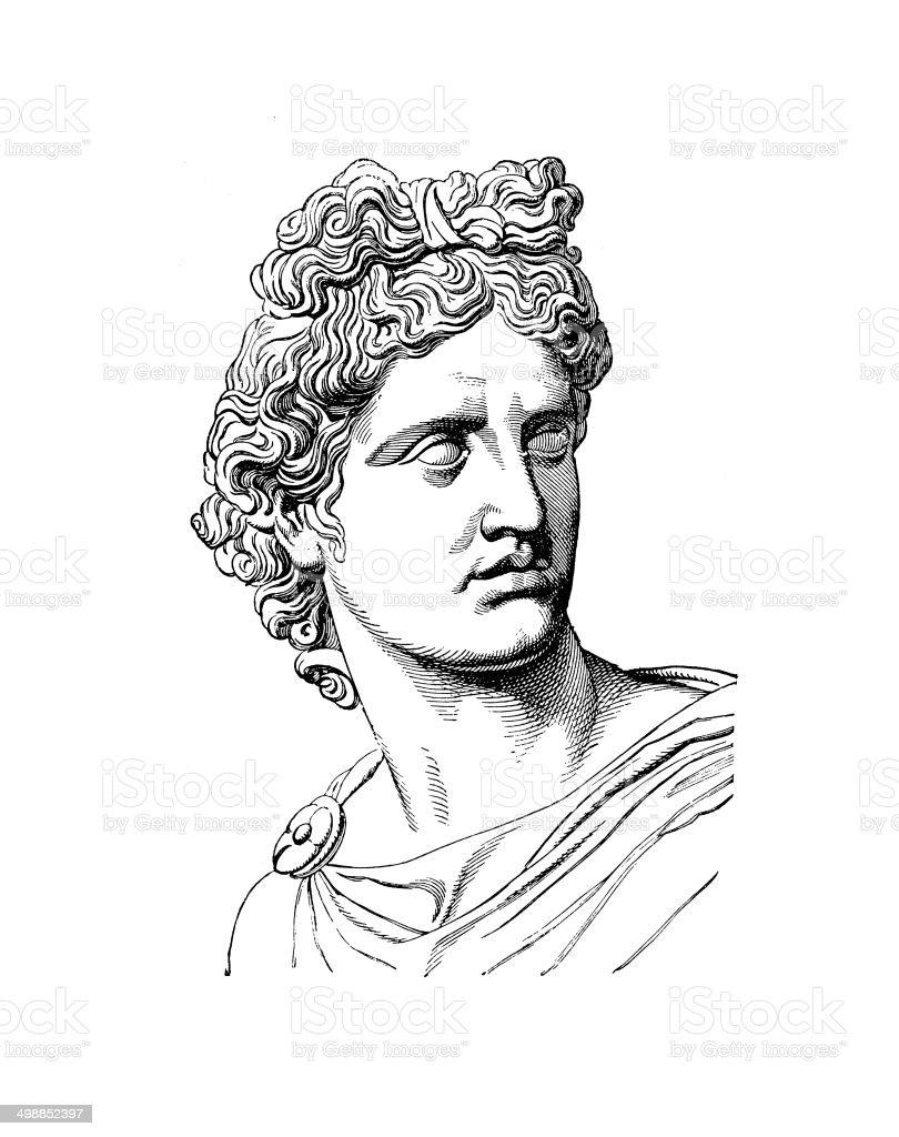 Phoebus Apollo (antique engraving) vector art illustration