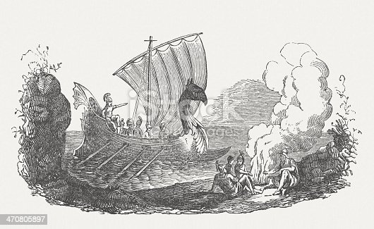 The Phoenicians were a Semitic people of antiquity, which lived in Phoenicia, today's areas of Lebanon and Syria on the Mediterranean coast. They were a well-known merchant and seafaring people, throughout the antiquity of the first millennium BC. Woodcut engraving, published in 1864.