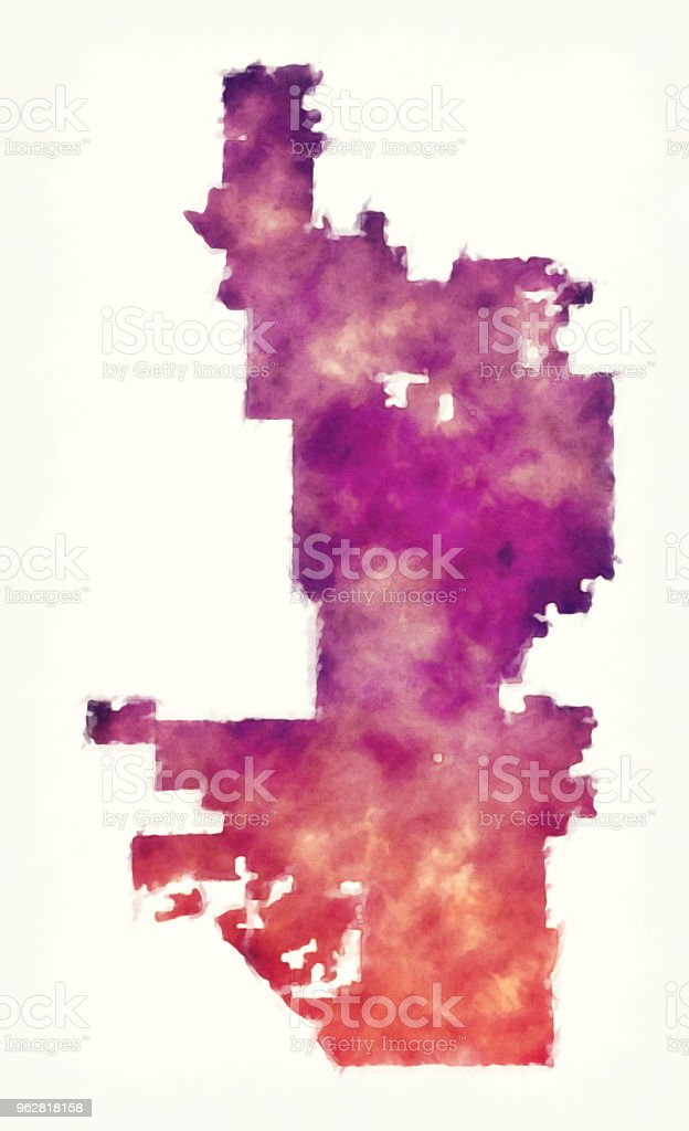 Phoenix city watercolor map in front of a white background vector art illustration