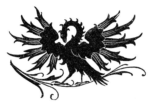 Phoenix mythical bird illustration 15th century