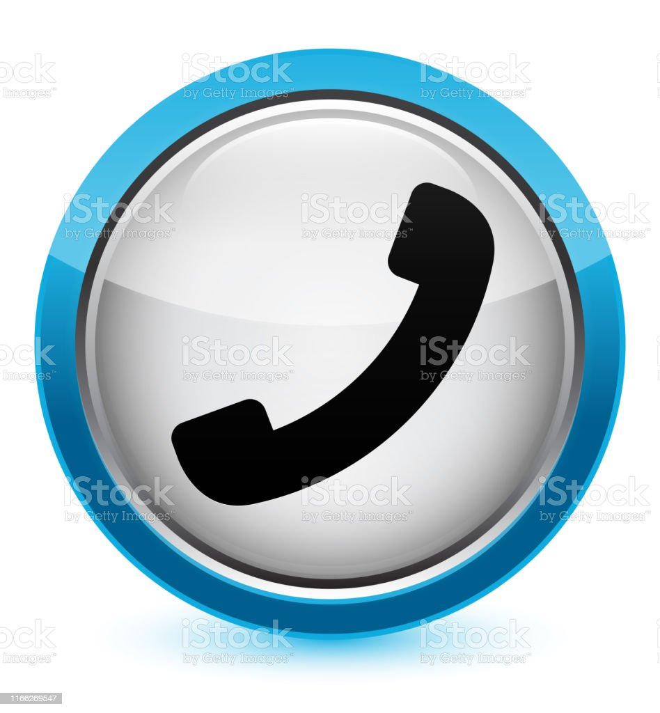 Phone Icon Crystal Cyan Blue Round Button Stock Illustration