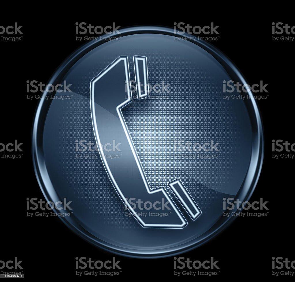 Icona Di Telefono Blu Scuro Isolato Su Sfondo Nero Immagini