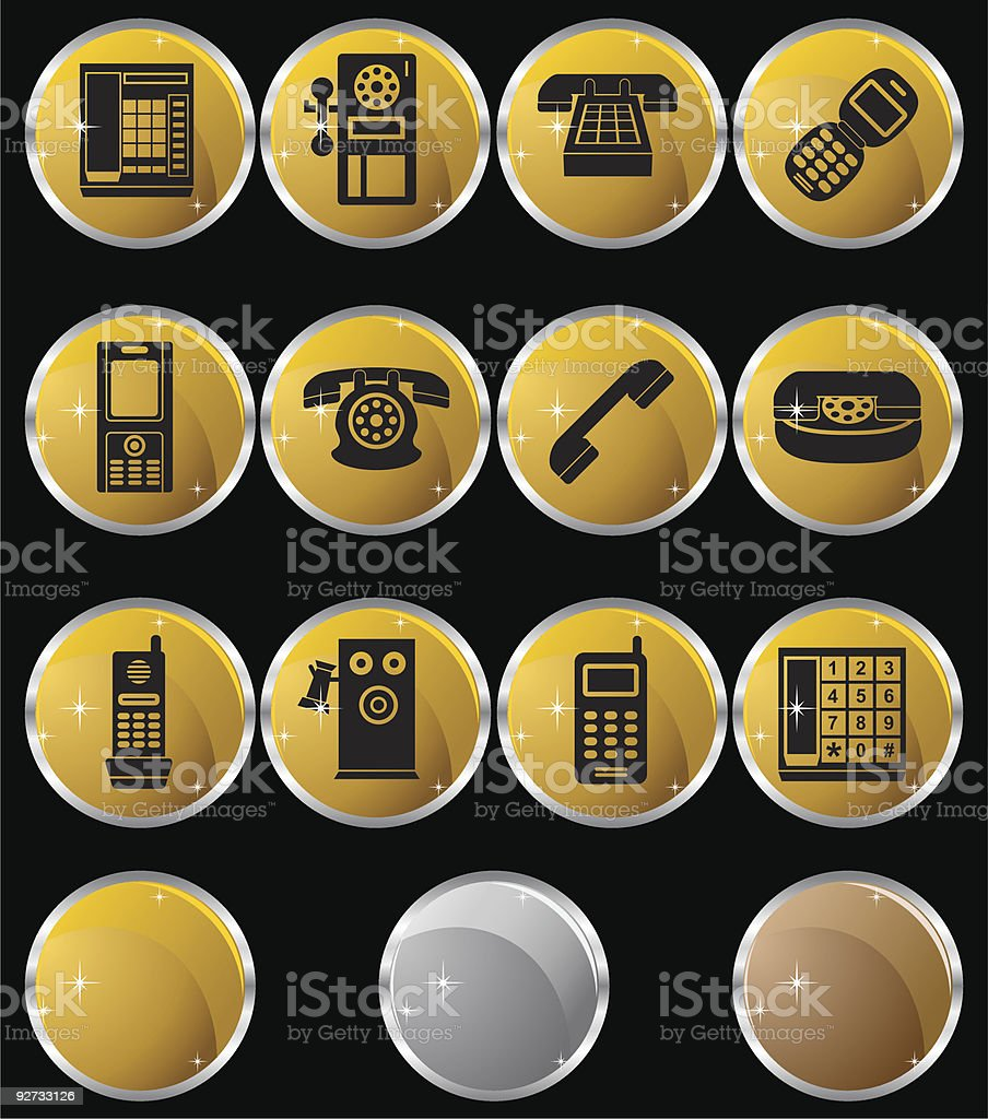 Phone Metal Set vector art illustration