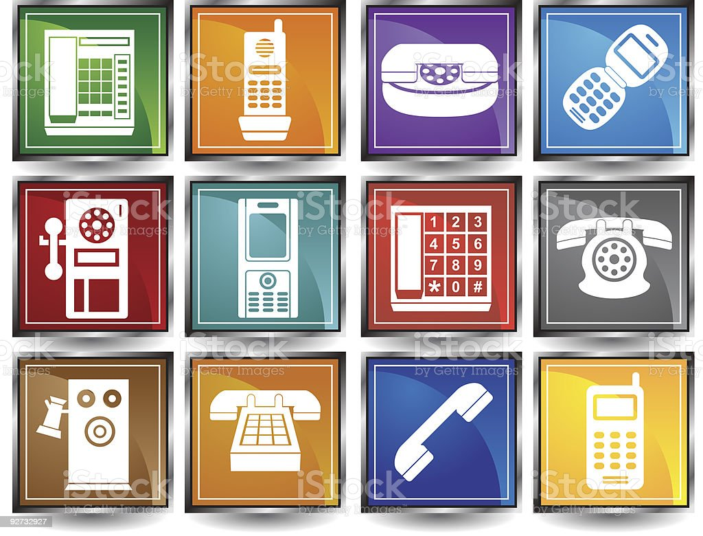 Phone Square Icons vector art illustration
