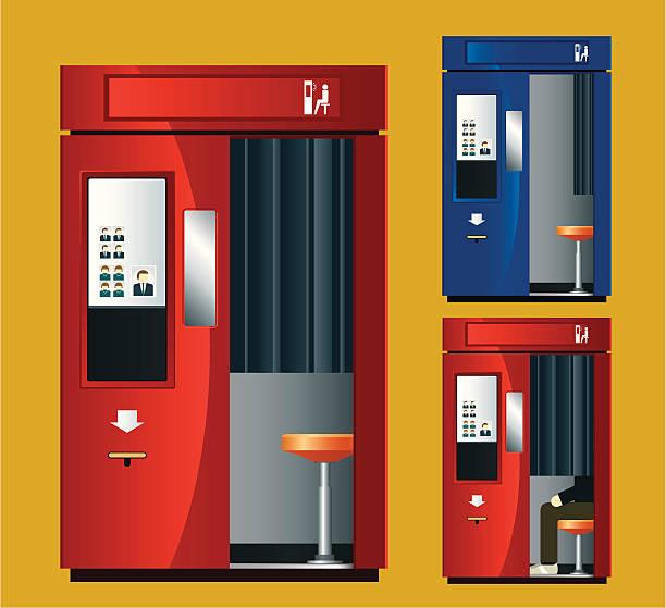 stockillustraties, clipart, cartoons en iconen met photo booth machine - photography curtains