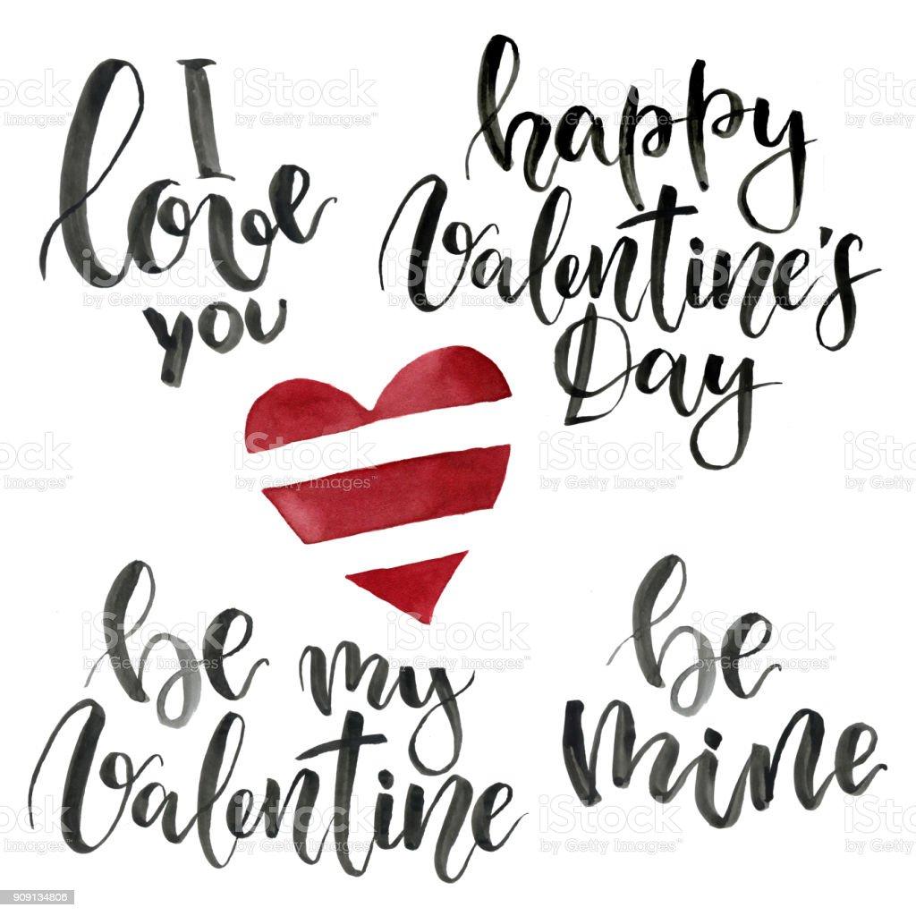Ilustración De Frases Para El Día De San Valentín Te Amo