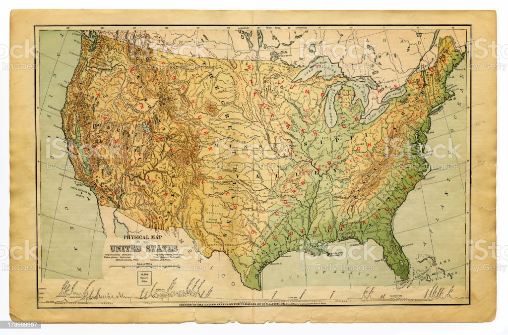 Physical Map United States Of America Stock Illustration - Download ...