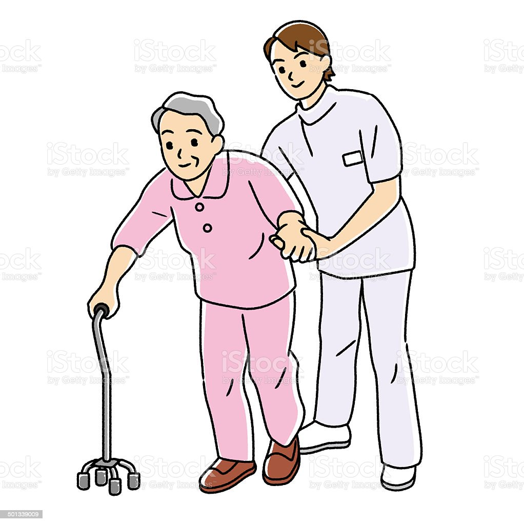 Physical therapist to carry out the rehabilitation of the elderly. vector art illustration