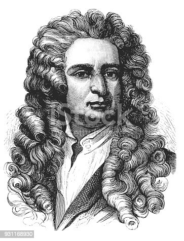 illustration of a physicist Isaac Newton