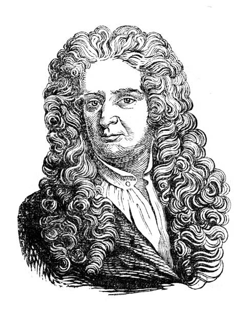 """Physicist Isaac Newton portrait illustration Engraving of physicist Isaac Newton Original edition from my own archives Source : """"MAGASIN PITTORESQUE"""" 1839 name of person stock illustrations"""