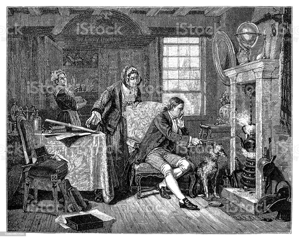 Physicist James Watt discovering steam power 1882 vector art illustration
