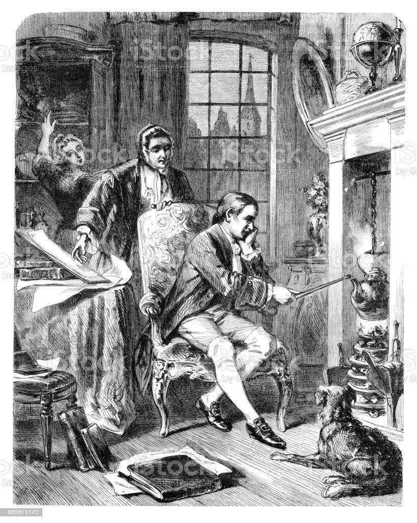 Physicist James Watt discovering steam power 1882 vector art illustration