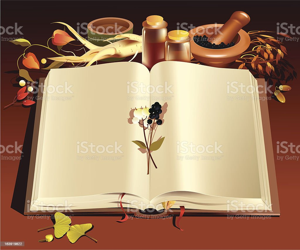 Phytotherapy book royalty-free stock vector art