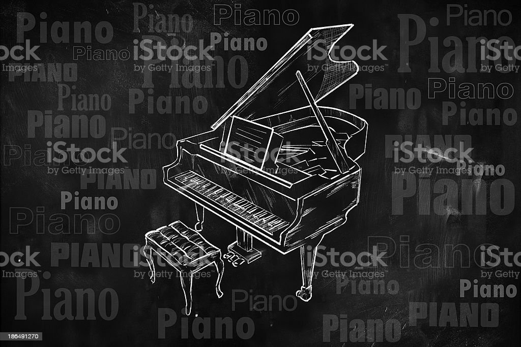 Papier Peint Tableau Noir piano dessin sur tableau noir de la musique de papier peint