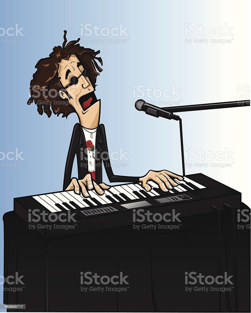 Piano man vector art illustration