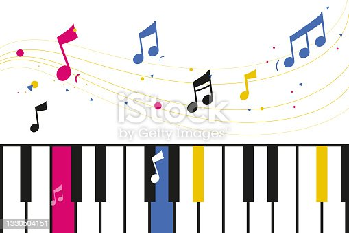 istock Piano theme image with solfege musical notes.Music theory. Colorful illustration pop invitation show concert musical event. 1330504151