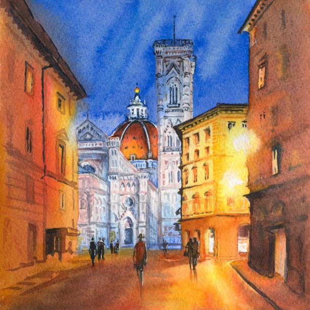 illustrazioni stock, clip art, cartoni animati e icone di tendenza di piazza del duomo in florence, italy - firenze