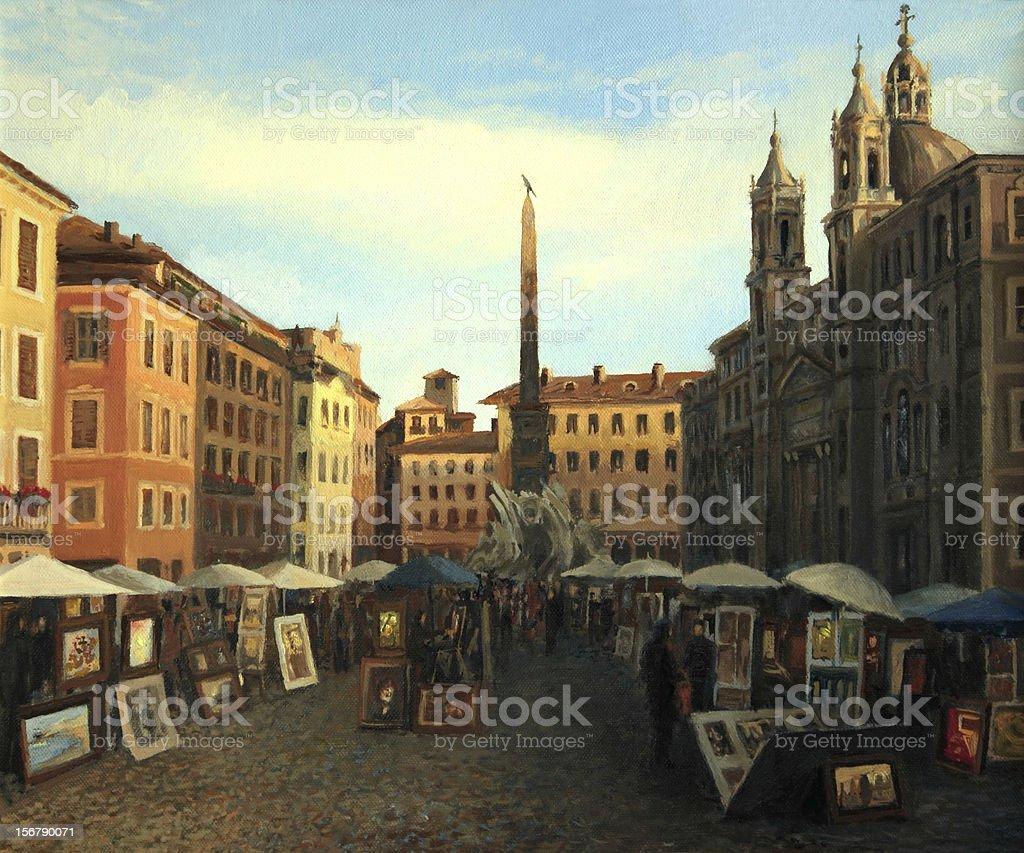 Piazza Navona in Rome royalty-free stock vector art