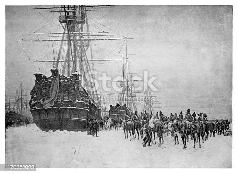 Pichegru takes the Dutch ships in the Zuyderzee - Scanned 1894 Engraving