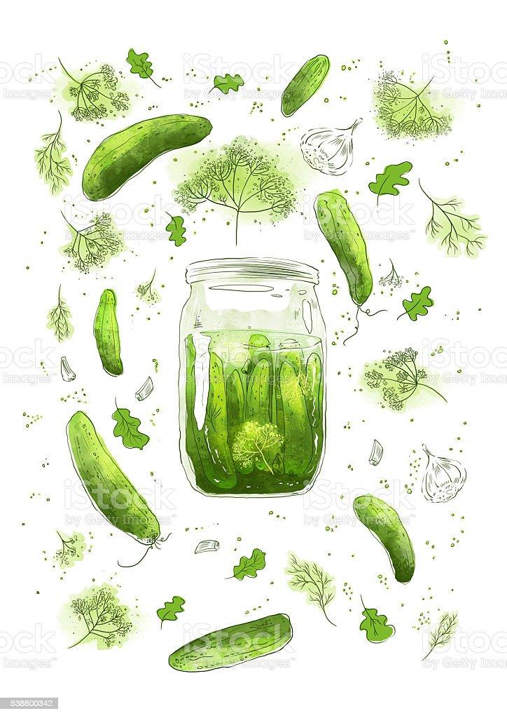 Pickled cucumbers vector art illustration