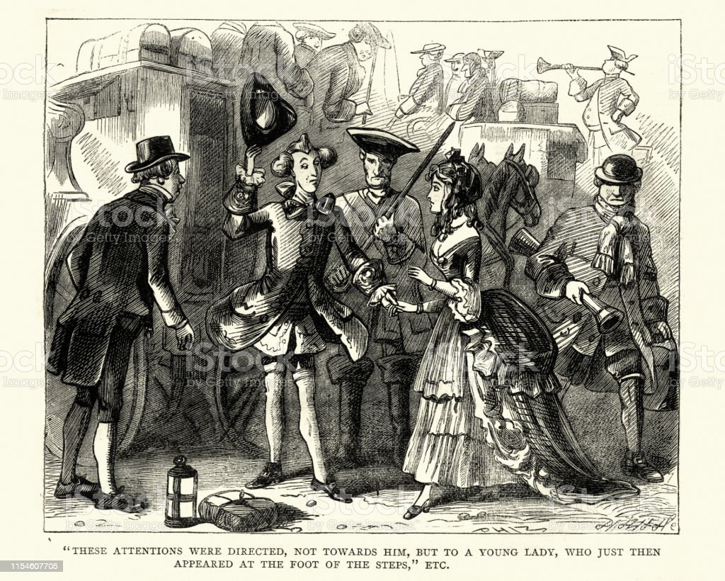Vintage engraving of a scene from Charles Dickens the Posthumous...