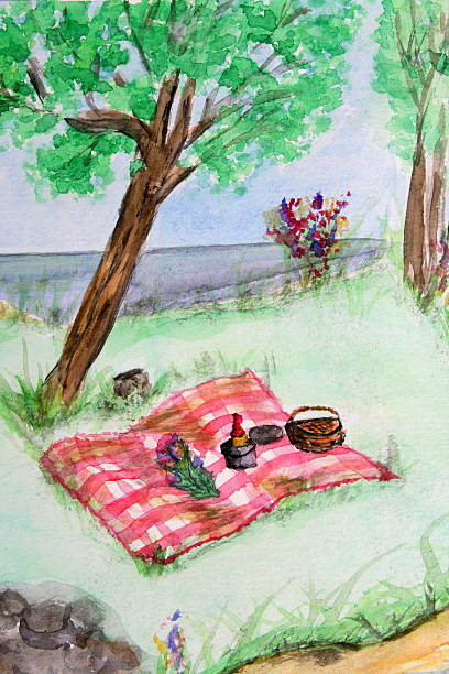 Picnic in the Park Watercolor of Summer Romance vector art illustration