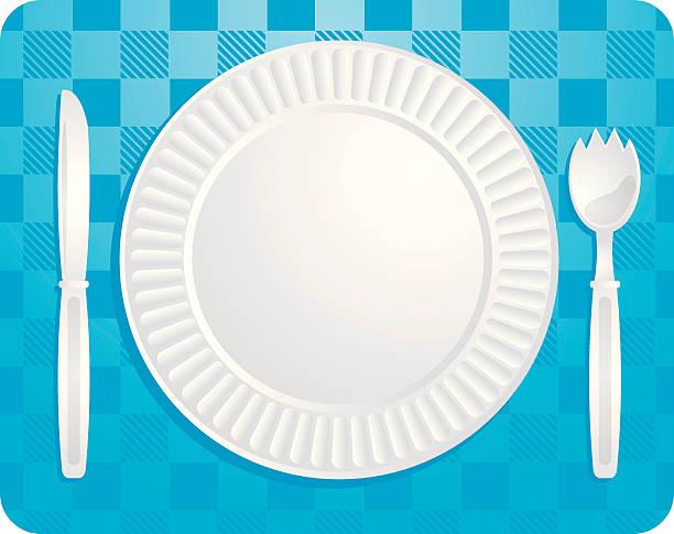picknick-platte - plastikteller stock-grafiken, -clipart, -cartoons und -symbole