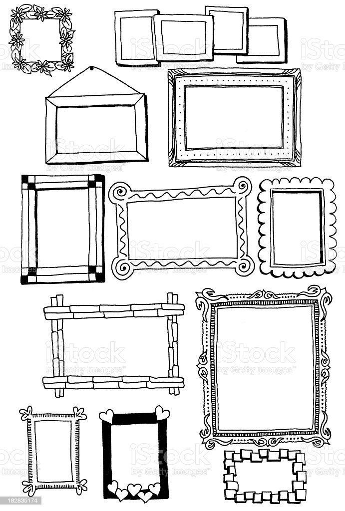 Picture frame doodles Hand drawn doodles of a variety of picture frames Bamboo - Material stock illustration