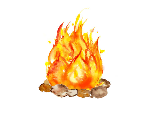 Picture of outdoor campfire isolated white background Wood fire watercolor illustration colorfull design feu stock illustrations