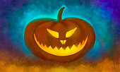 drawing of a pumpkin with glowing eyes and a mouth with teeth on a mystical colored dark background. Halloween