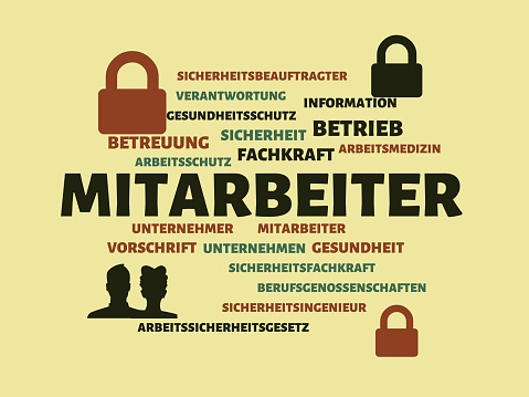 EMPLOYEES - Pictures with words from the field of occupational safety, word, image, illustration