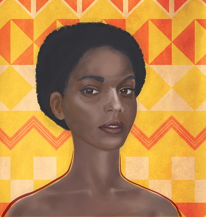 Portrait of a young women of African type with the features of the Jewish ethnic group of Falashi. The girl is depicted in three quarters, close-up on a yellow background. The eyes are focused and turned on the viewer. The technique of embossed smear
