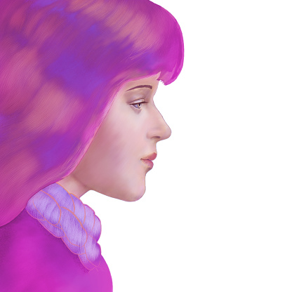 Picturesque profile of a girl in pink tones
