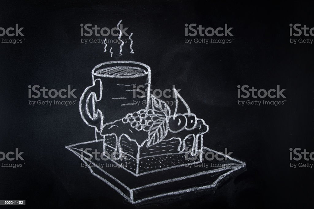 Piece of Layered Cake with Cream Frosting Fruits and Berries Topping on Plate Cup of Hot Piping Coffee Tea. Freehand Chalk Crayon Drawing on Blackboard.Sketch Doodle Style Food Poster Banner Template vector art illustration