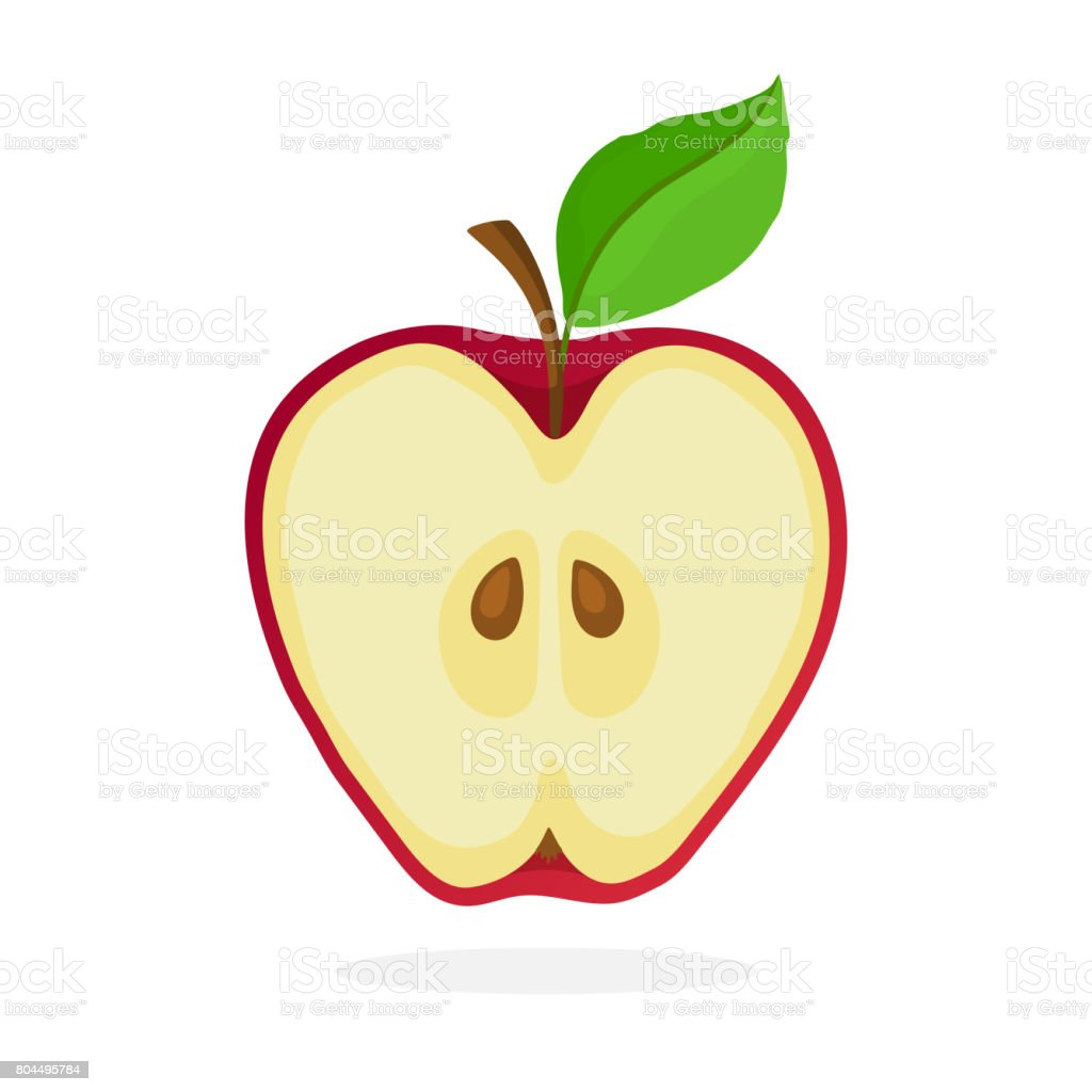 a piece of red apple cut in half stock vector art amp more