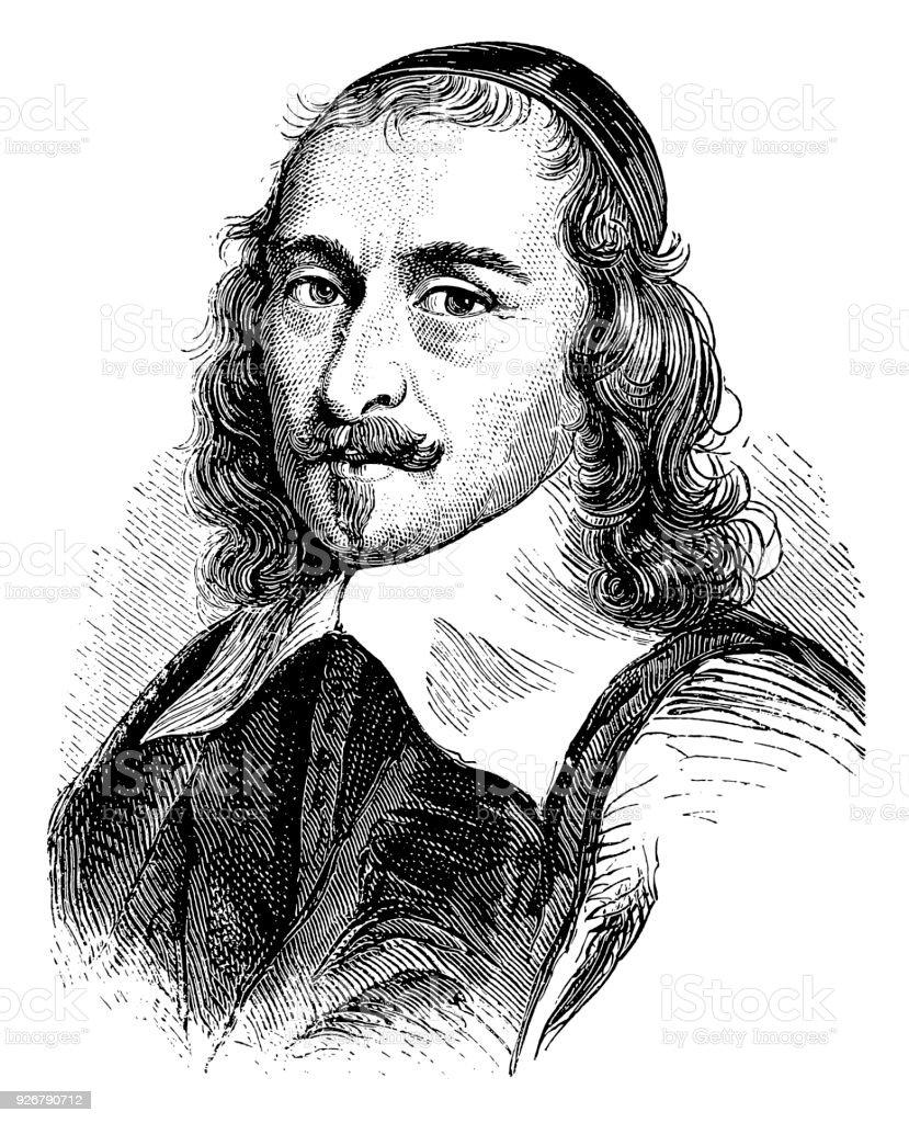 Pierre Corneille (1606-1684), French tragedian vector art illustration