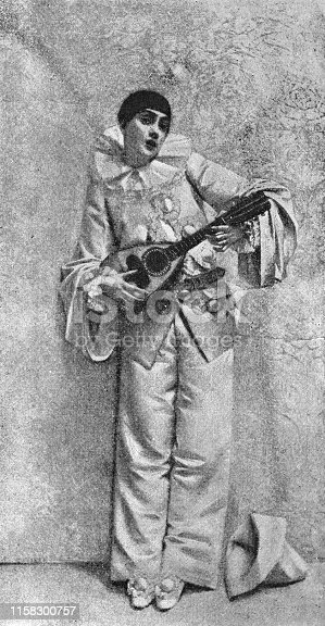 Pierrot by Leon Francois Comerre (circa 19th century). Vintage etching circa late 19th century.