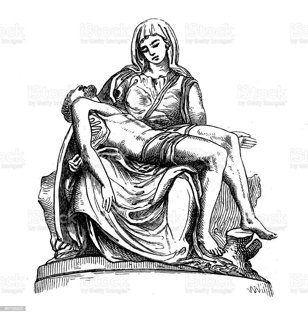 Pietà (Basílica de São Pedro, Vaticano) por Michelangelo - ilustração de arte em vetor