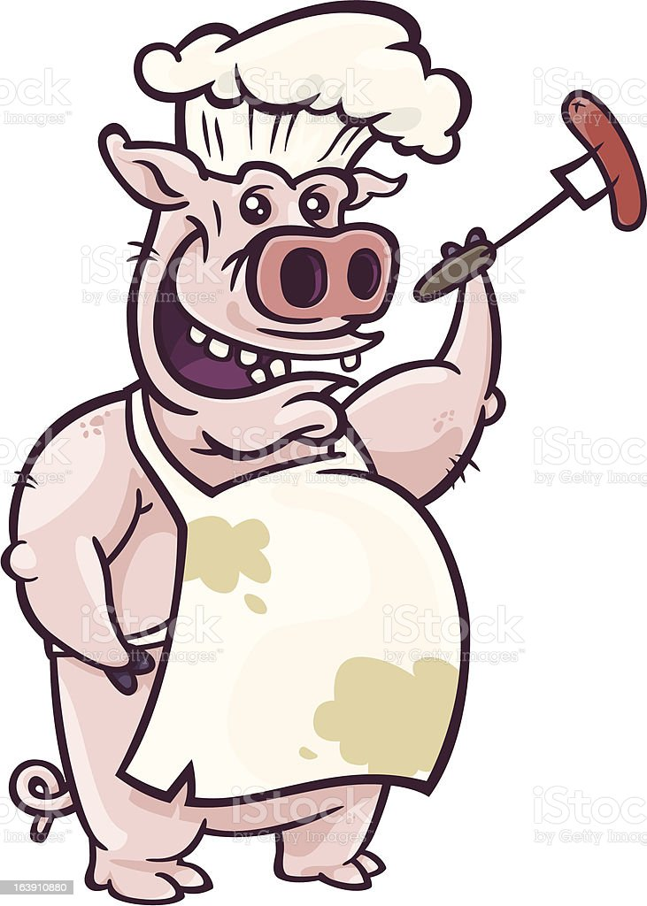 Pig Barbecuer with Hotdog royalty-free pig barbecuer with hotdog stock illustration - download image now