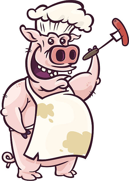 Pig Barbecuer with Hotdog vector art illustration