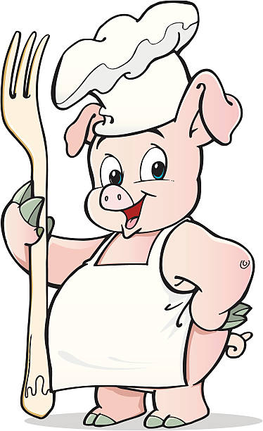 Pig cook An a vector illustration of pig cook. apron isolated stock illustrations