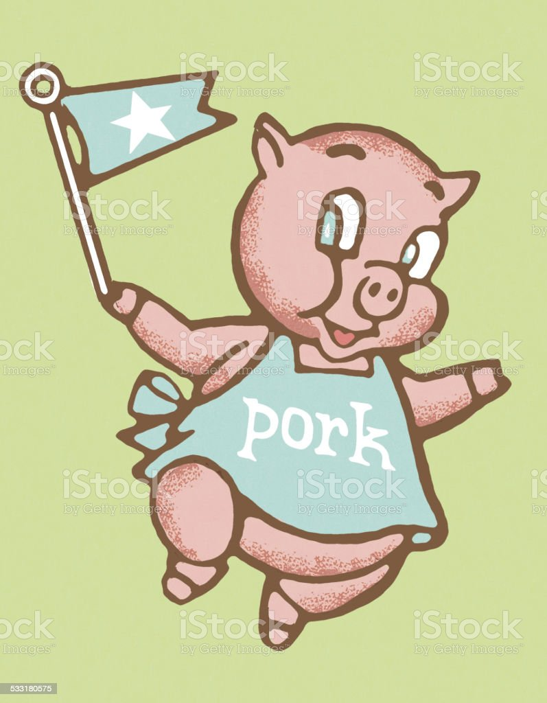 Pig Holding a Banner vector art illustration