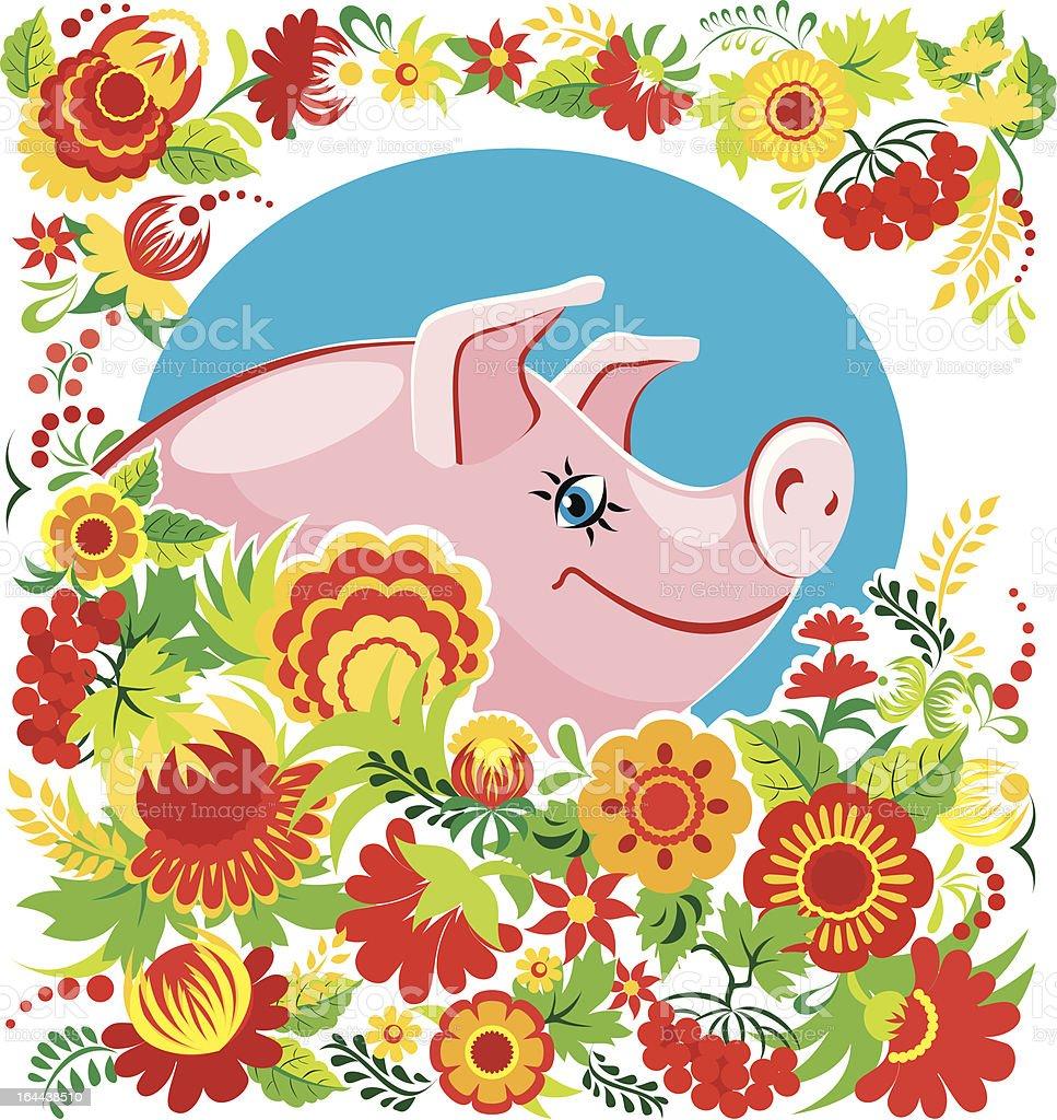 Pig in flowers royalty-free stock vector art