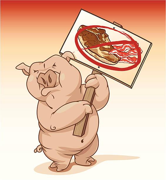 schwein protestieren schweinefleisch-produkte - schweinebraten stock-grafiken, -clipart, -cartoons und -symbole