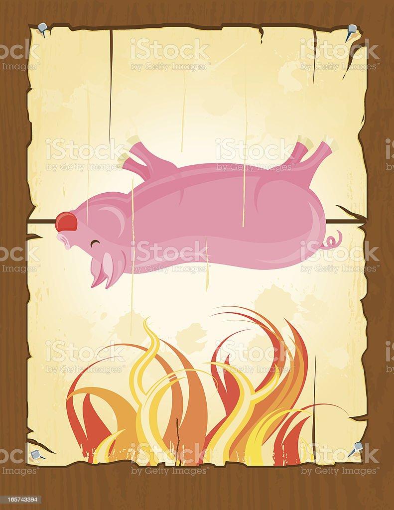 BBQ Pig Roast Poster vector art illustration
