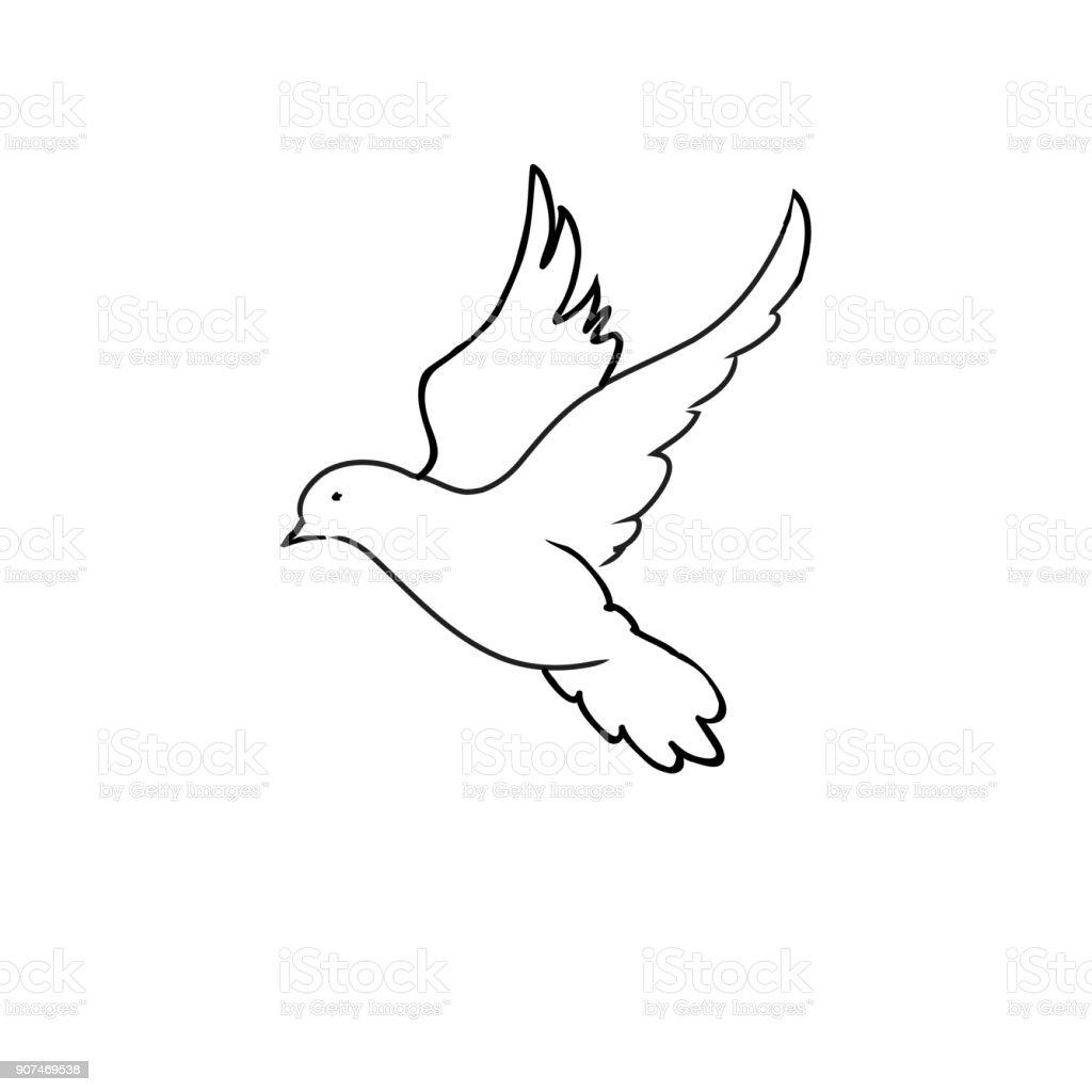 Pigeon Colombe Dessin Au Trait Noir Sur Fond Blanc Vecteurs Libres