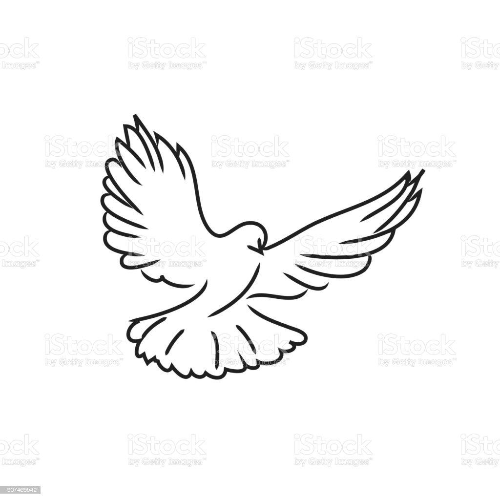 Ilustraci n de paloma paloma arte de l nea negra sobre fondo blanco y m s vectores libres de - Dessin pigeon ...