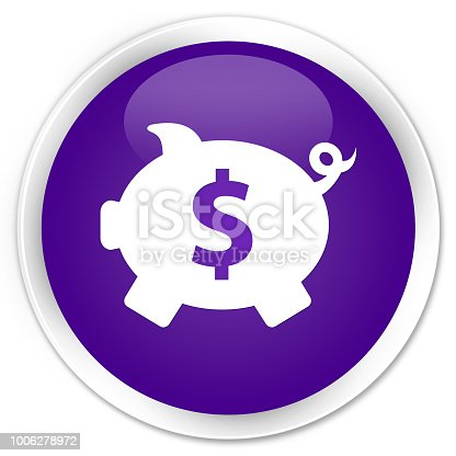 Piggy bank dollar sign icon isolated on premium purple round button abstract illustration