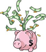 Vector Illustration of a cute little piggy bank expelling it's money into the air. Nearly every element of this illustration is on a separate layer for easy editing to suit your needs.